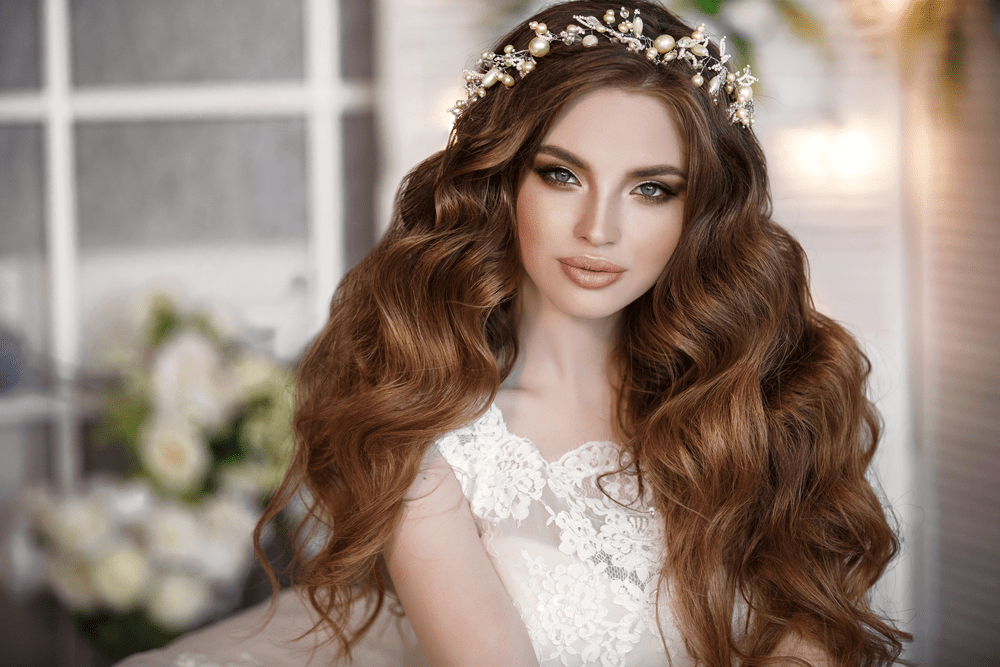 Wedding curly hair with flower crown-Melbourne